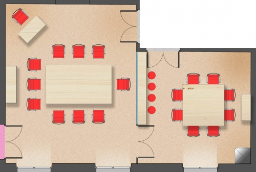 Room seating plan and its client lounge